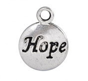 50 pc Hope Message Inspiration Charm, Silver Tone Round, 15 x 12mm