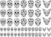 Sugar Skulls 1.6cm - 2.9cm Black 14JR330 Fused Glass Decals