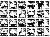 African Animals 2.5cm - 0.3cm tall - Black 14CC394 Fused Glass Decals
