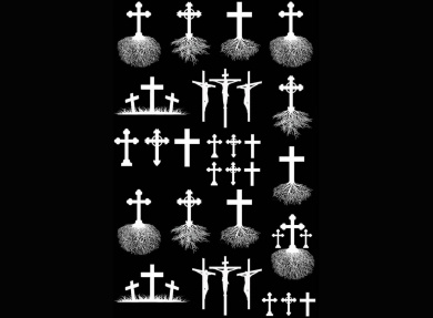 Cross Roots 1cm - 2.7cm - White 14CC363 Fused Glass Decals