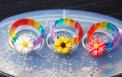 Multi-Clear-silicone Ring Moulds+3 ps+3 flowers for stud earrings,ring size 7.8,9
