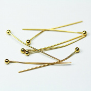 24pcs14K gold filled Jewellery findings Head Pin w/ball End,25mm ball1mm , 24gauge