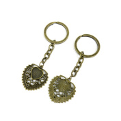 2 PCS Keyrings Keychains Key Ring Chains Tags Jewellery Findings Clasps Buckles Supplies P5PP3 Heart Cabochon Setting