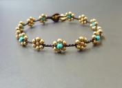 Handmade Turquoise Brass Flower Anklet