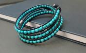 Turquoise Black Leather Triple Wrap Bracelet Anklet