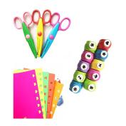 Worldoor® New 10 PCS Beautiful Mini Paper Craft Punch +3 PCS Creative Scissors + 50 PCS Colourful Self Adhesive Paper for Card Scrapbooking Engraving Kid Cut DIY Handmade