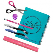 7 Piece Set for Left-handed Middle Schoolers - Pink Implements, Turquoise Notebook