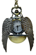 Huicocy Harry Potter Steampunk Quidditch Pocket Clock,golden Pocket Watch Necklace