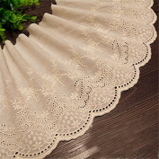 Beige 3 Yards Retro Embroidered Cotton Lace Dress Lace Craft Lace Trim 19cm Wide