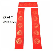MasterChinese Chinese New Year Calligraphy Vertical Writing (5 Sets) Red Chun Lian - Couplet - 22x136cm