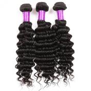 Golden Rule Deep Wave 3 Bundles Pack 100% Virgin Brazilian Human Hair Natural Off Black Colour Curly Wave Human Hair Weft Weave Extensions 300g 12-80cm