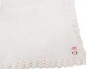 Knitted & Crochet Pink Chenille Large Baby Blanket with Penguin Applique'