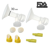 30 mm EXtra Large Flagne w/ Valve and Membrane for SpeCtra Breast Pumps S1, S2, M1, Spectra 9; Narrow (Standard) Bottle Neck; Made by Maymom
