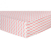 Trend Lab Chevron Deluxe Flannel Fitted Crib Sheet, Coral and Grey, Coral