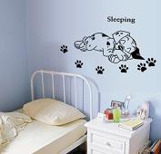 SWORNA Animal Series A Sleeping Dog Children Kids Baby's Removable Vinyl Nursery DIY Wall Art Window Sticker Decor Decal - Home Indoor Bedroom Kindergarten Playroom Living Room Hallway 28cm H X 60cm W