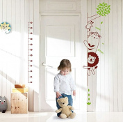 SWORNA Animal Series Height Chart with Lion Giraffe Bear Vinyl Removalbe DIY Kids Nursery Children Home Wall Window Sticker Decor Decal - Bedroom Living Room Kindergarten Playroom Hallway 190cm H X 60cm W