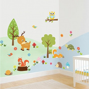 SWORNA Animal Series Multicoloured Jungle Animals Under the Colourful Tree Children Kids Baby's Removable Vinyl Nursery Wall Sticker Decal Bedroom Kindergarten Playroom Living Room Hallway 60cm H X 80cm W