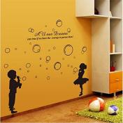 SWORNA Baby Nursery Series Hubble-bubble Girl & Boy Vinyl Removable DIY Kids Children Home Indoor Wall Window Sticker Decor Decal - Bedroom Living Room Kindergarten Playroom Hallway School 130cm H X 140cm W