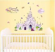 SWORNA Baby Nursery Series Princess Castle Vinyl Removable DIY Kids Children Baby Girls Home Wall Window Sticker Decor Decal - Bedroom Living Room Kindergarten Playroom Hallway School 80cm H X 100cm W