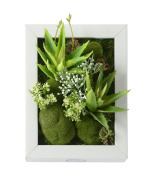 3D New Style Wall Hanger Artificial Flowers Metope Green Grass White Flower Succulent plants Imitation Wood Frame Vase wedding Decorations living Room, White Frame, 20cm * 25cm