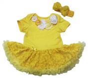 Valentine Baby Dress Neck Rosettes Bodysuit Yellow Rose Tutu Romper Nb-18m