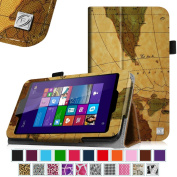 Linx 18cm Tablet Case - Fintie Premium Vegan Leather Folio Stand Cover with Stylus Loop for Linx 18cm Windows 8 Tablet, Vintage Map