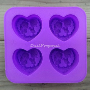 Butter Candle Candy Baking 4 Angel in Heart Silicone Mould Valentine's Day Craft Soap Making Chocolate Mould Tray Food Craft