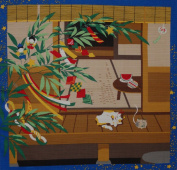 Furoshiki Cat and Tanabata Star Festival Decorations Motif Japanese Fabric 50cm