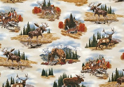 Bringing Nature Home by Al Agnew from Robert Kaufman 100% Cotton Quilt Fabric AAX-10374-169 Earth By the Yard Bears, Moose, Deer