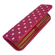 HobbyGift MR4700F/22 | Knitting Pin Case Filled Cream Spots On Dark Red