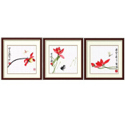 DOMEI Stamped Cross Stitch Kit, Chinese Painting Red Lotus Flowers, 37cm x 37cm
