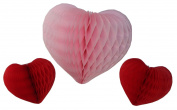Set of 3 Large Honeycomb Tissue Paper Valentine's Heart Decorations