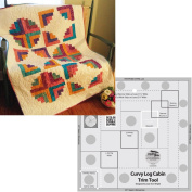 Bundle of Creative Grids Curvy Log Cabin Trim Tool 20cm Finished Blocks and Cut Loose Press Hopscotch Curvy Log Cabin Quilt Pattern
