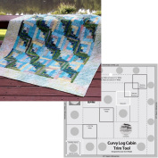 Bundle of Creative Grids Curvy Log Cabin Trim Tool 20cm Finished Blocks and Cut Loose Press Sun, Surf, and Seaweed Curvy Log Cabin Quilt Pattern