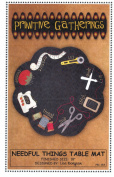 Needful Things Table Mat Quilt Pattern, Homespun, Wool, Fusible Applique, Finished Size 46cm Diameter