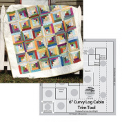 Bundle of Creative Grids Curvy Log Cabin Trim Tool 15cm Finished Blocks and Cut Loose Press Carousel Curvy Log Cabin Quilt Pattern