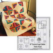 Bundle of Creative Grids Curvy Log Cabin Trim Tool 15cm Finished Blocks and Cut Loose Press Hopscotch Curvy Log Cabin Quilt Pattern