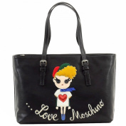 Love Moschino Women's Embroidered Girl Black Leather Tote Carry-All Handbag