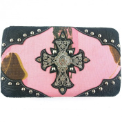 RIDE AWAY Western Floral Design Cross with Rhinestones Camouflage Women's Wallets
