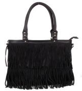 Large Black Fringe Fashion Handag