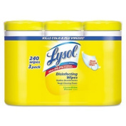 LYSOL Brand Disinfecting Wipes, 7 x 8, Lemon and Lime Blossom, 80/Canister, 3/Pack by Lysol