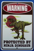 Warning Protected By Ninja Dinosaur - Funny Novelty Metal Sign