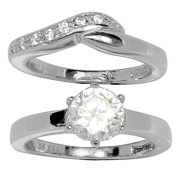 6 Prong Set Round CZ Stone with Wedding Style Curved Band and CZ Stone Accents in Stainless Steel