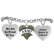 "The Perfect Gift ""Army Crystal Heart"" Hypoallergenic Adjustable Bracelet, Nickel, Lead Free!"