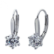 Sterling Silver Rhodium Plated, 6mm Round CZ 6 Prong Set Basket Solitaire Drop Earring