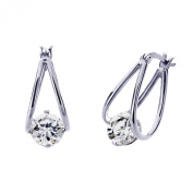 Sterling Silver 14K Yellow Gold Plated 7mm Round CZ Invisible Set Drop Earring