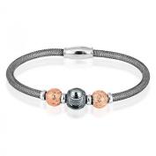 Sterling Silver 925 Black Mesh and Rose Gold D-C Beads Magnetic Bracelet 18cm - The Royal Gift