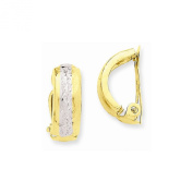 14k Yellow Gold Polished & Rhodium Non-pierced Earrings