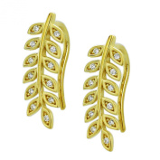 Sterling Silver 14K Yellow Gold Plated Round CZ Pave Set Leaf Ear Cuffs