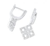 Sterling Silver Simulated Diamond Geometric Loop Latch Back Earrings